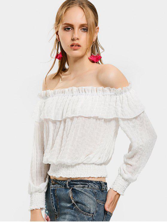 Schulterfreie Volant Saum Bluse - Weiß XL