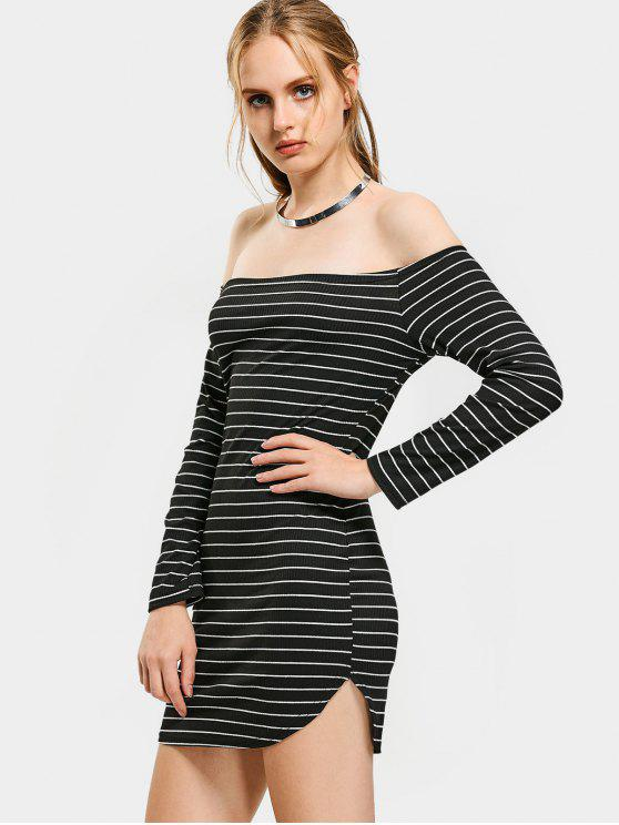 d7b55be7414a 39% OFF  2019 Off Shoulder Striped Knitted Mini Dress In STRIPE
