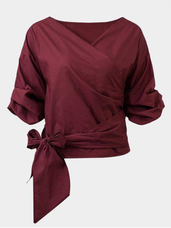 Gürtel aus Schulterbluse - Weinrot XL
