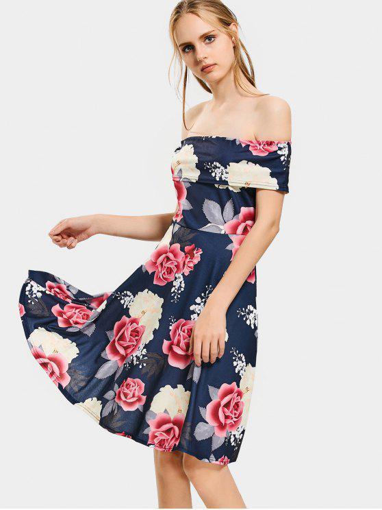 Blumen Druck Schulterfreies Flare Kleid - Schwarzblau M