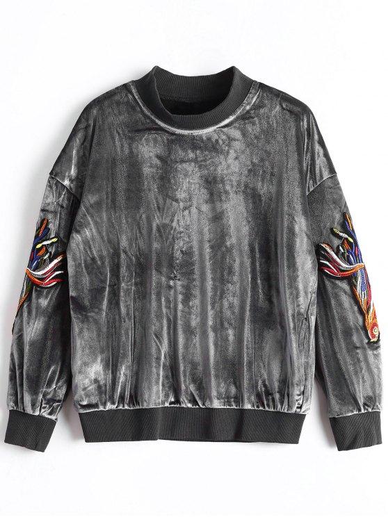 Mock Neck Applique Velvet Sweatshirt - Cinza S