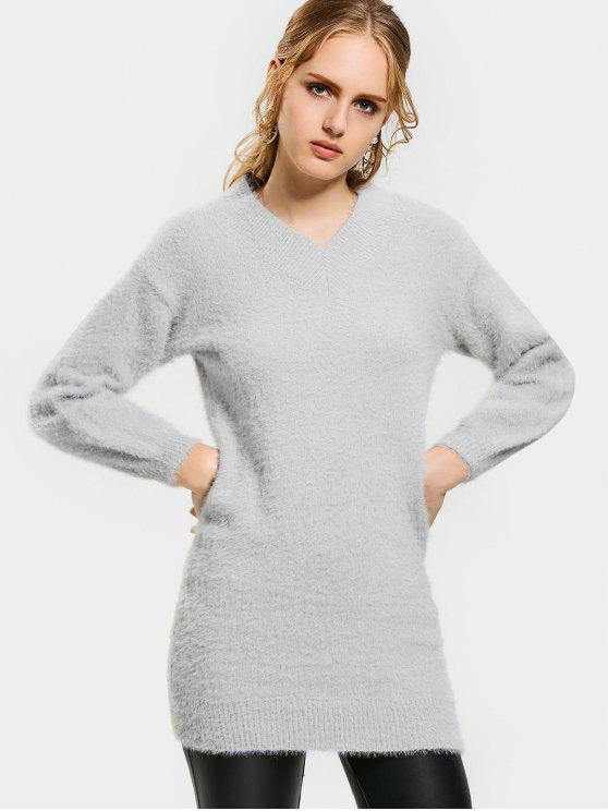 women V Neck Lantern Sleeve Sweater Dress - LIGHT GRAY XL