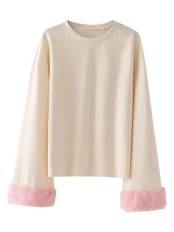 Sweatshirt mit Drop Schulter und Fuzzy Ärmel - Helle Aprikose M
