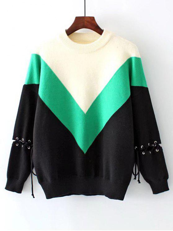 Pull Contrastant à Lacets et Épaules Tombantes - Vert Taille Unique