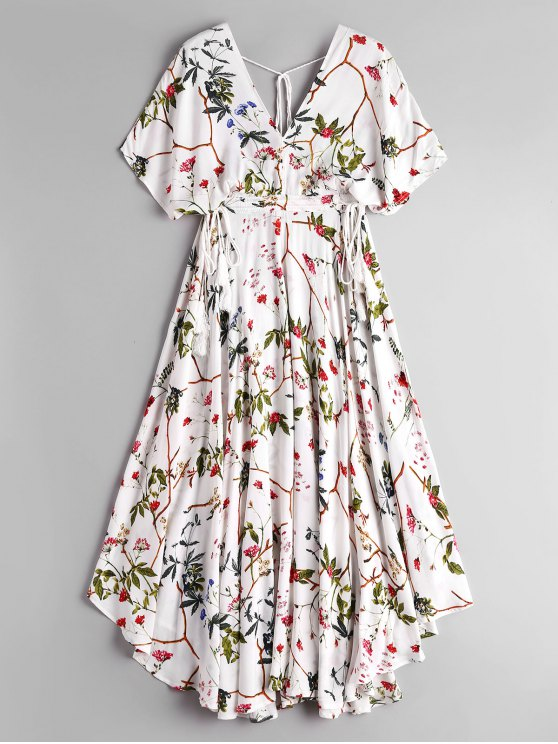 women's Empire Waist Floral Asymmetrical Midi Dress - WHITE M