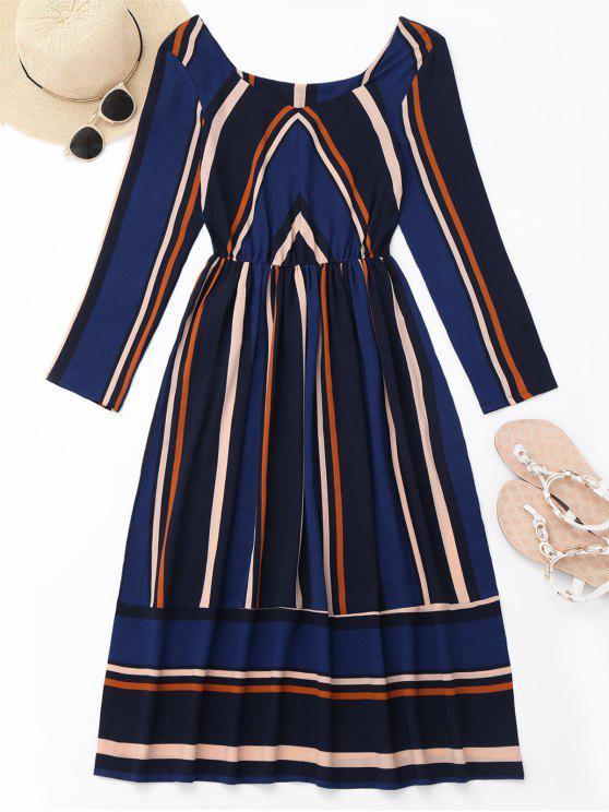 womens Long Sleeve Striped Mid Calf Dress - DEEP BLUE M