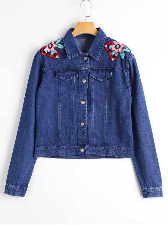 womens Button Up Embroidered Shoulder Jean Jacket - DENIM BLUE S