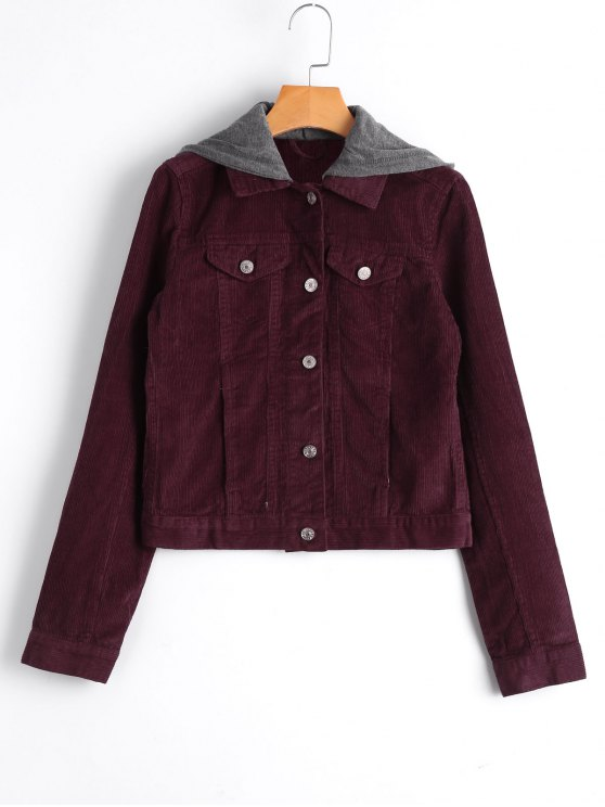 women's Hooded Button Up Corduroy Jacket - WINE RED M