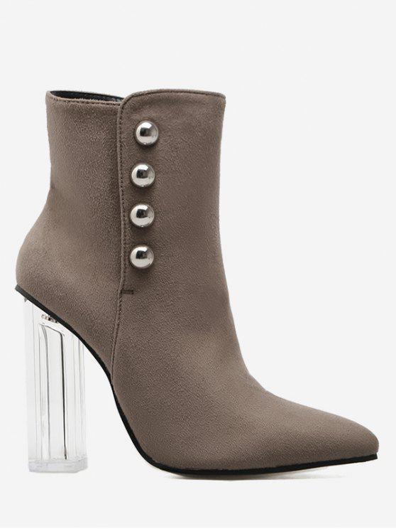 Chunky Heel Transparent Stud Ankle Boots - Kaki 37