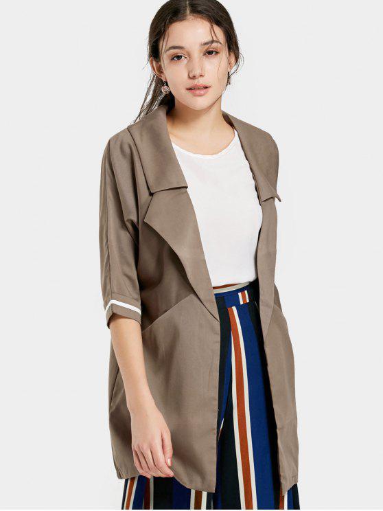 معطف الخندق مفتوحة الجبهة طية الصدر - كاكي XL