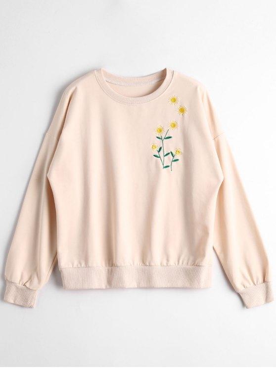 Unique Sunflower Embroidered Sweatshirt