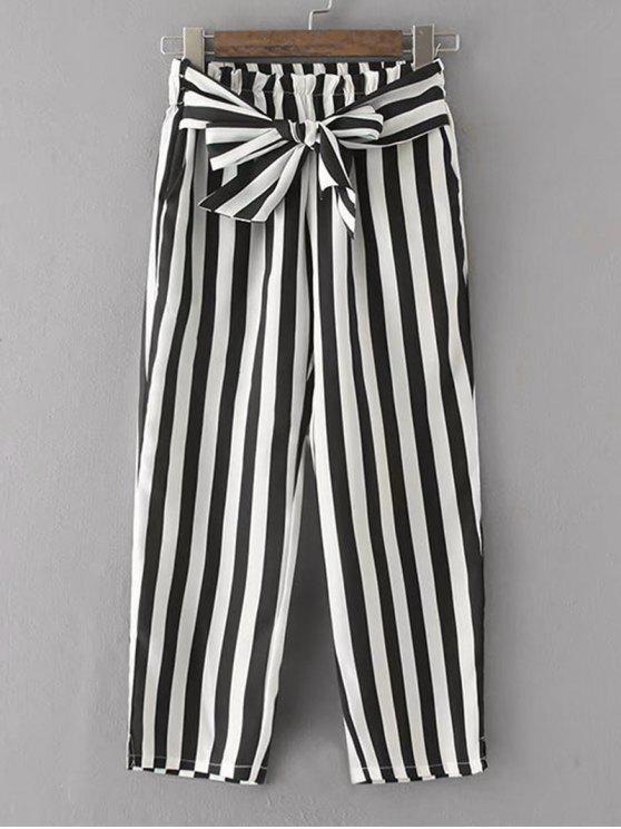 Pantalon Rayé à Ceinture Nouée - Rayure L