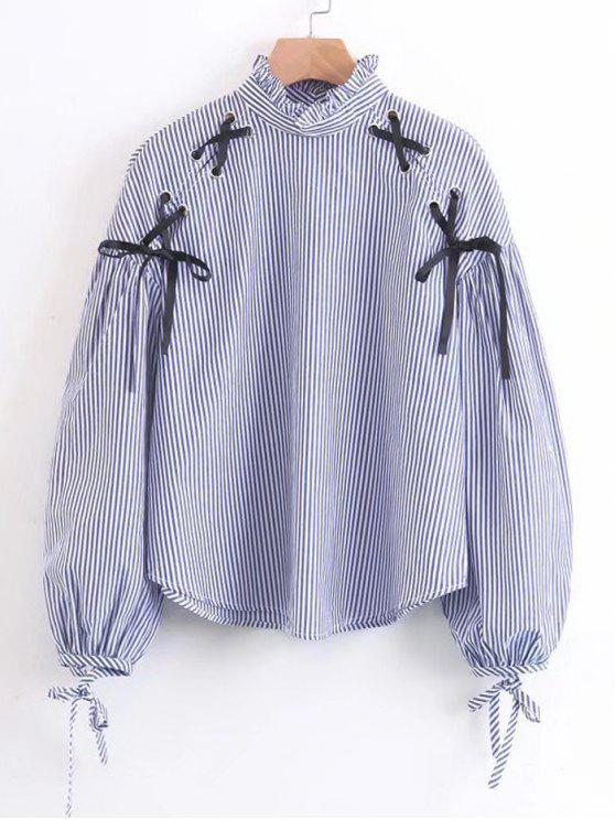 Criss Cross Ruffles Stripes Bluse - Streifen  M
