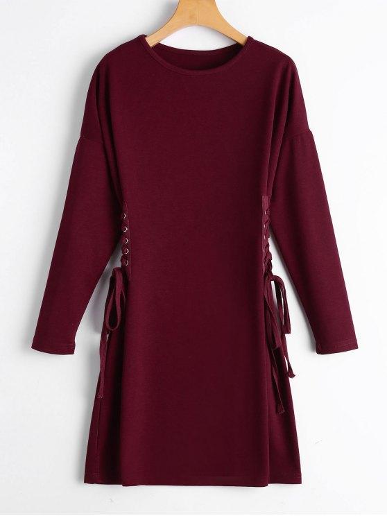 فستان رباط طويلة الأكمام بخط A - نبيذ أحمر S