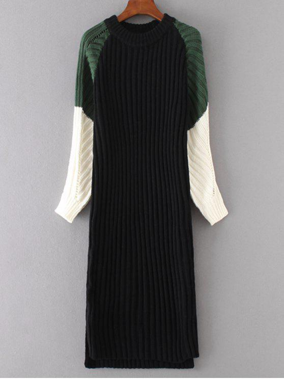 fancy Long Sleeve Color Block Shift Sweater Dress - BLACK ONE SIZE