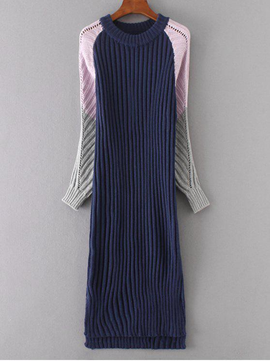 affordable Long Sleeve Color Block Shift Sweater Dress - PURPLISH BLUE ONE SIZE