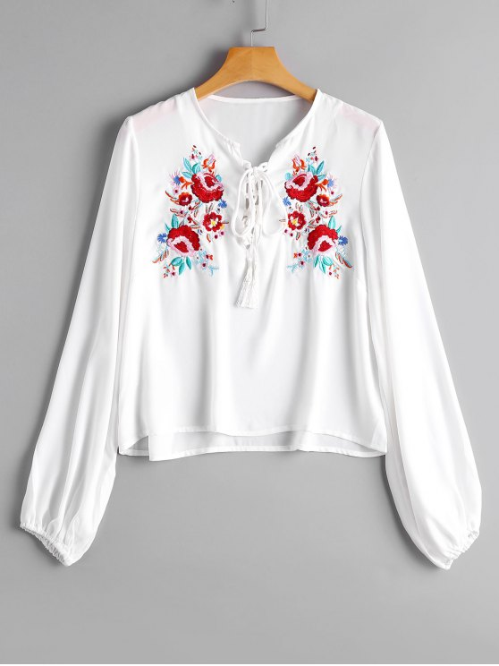 hot Loose Lace Up Floral Embroidered Blouse - WHITE M