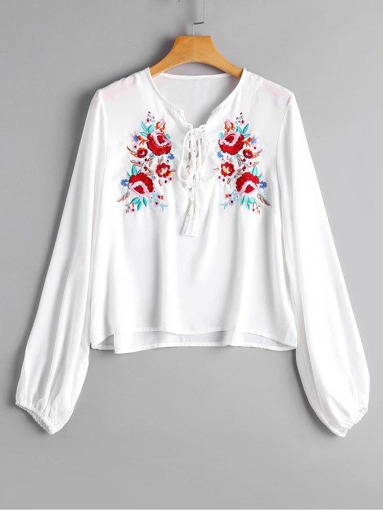 Lose Lace Up Blumengestickte Bluse - Weiß M