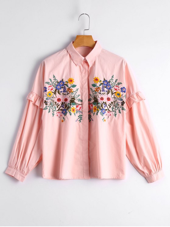 affordable Loose Floral Embroidered Ruffled Shirt - PINK S
