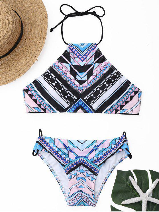Bikini Stampa Geometrica Con Collo Alto - colori misti S