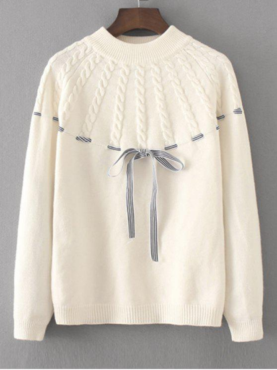 women Bowknot Cable Knit Panel Sweater - WHITE ONE SIZE