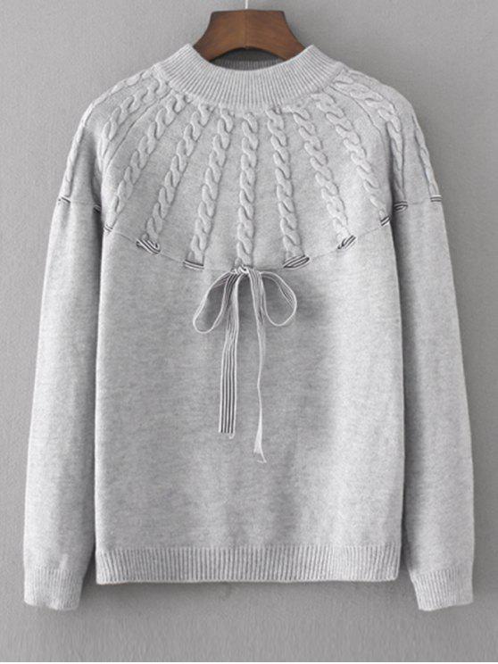 Kabelstrick Pullover mit Schleifedetail - Grau Eine Größe