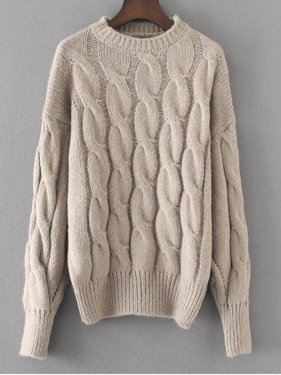 outfit Loose Cabke Knit Chunky Sweater - GRAY ONE SIZE