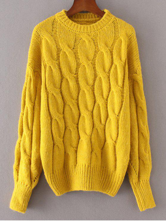 shop Loose Cabke Knit Chunky Sweater - YELLOW ONE SIZE