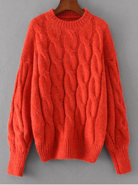 latest Loose Cabke Knit Chunky Sweater - RED ONE SIZE