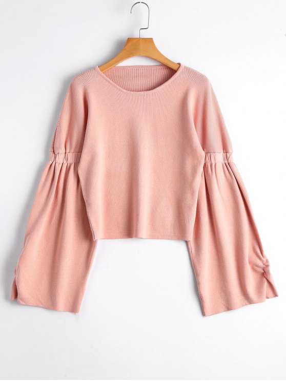 fancy Loose Short Lantern Sleeve Sweater - PINK ONE SIZE