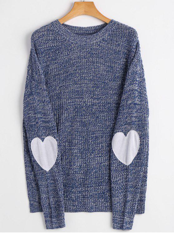 chic Heart Elbow Patch Pullover Sweater - ROYAL S