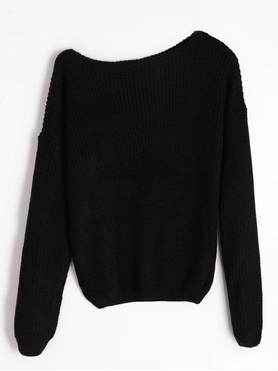 2019 Knitted Skew Neck Sweater In Black S Zaful