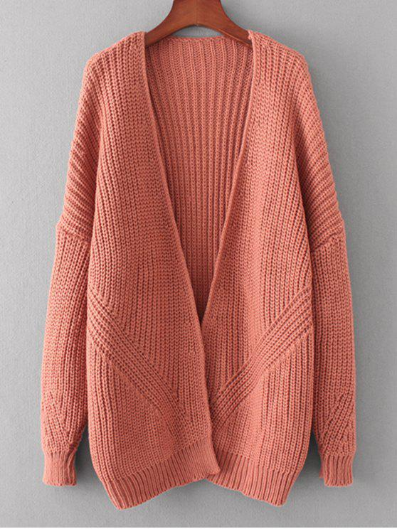 shop Loose Open Front Chunky Cardigan - RUSSET-RED ONE SIZE