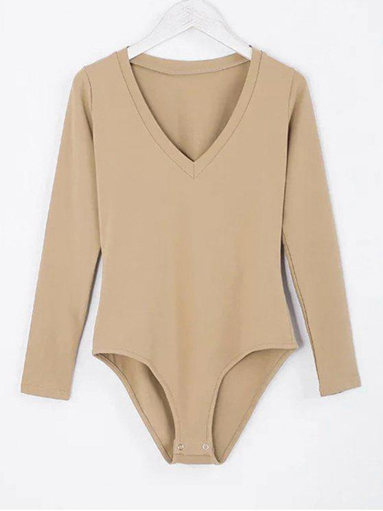 best V Neck Skinny Long Sleeve Bodysuit - KHAKI S