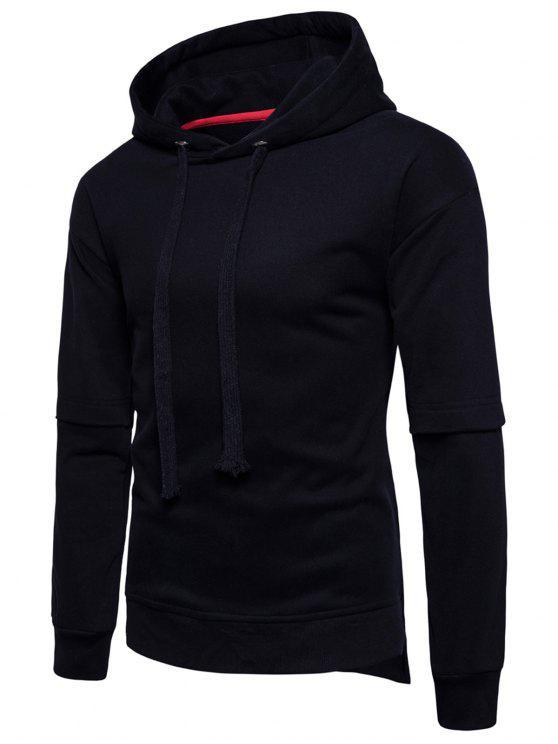 Sudadera con capucha de seda - Negro M
