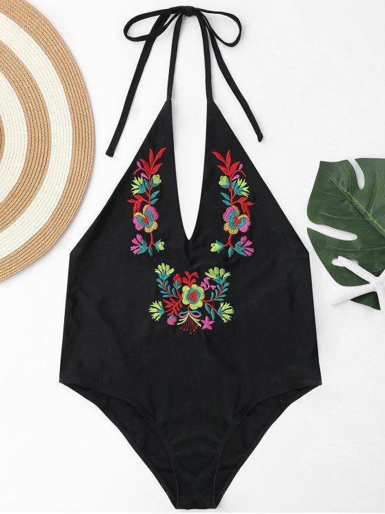 f135439c5d7e8 2019 Plus Size Halter Embroidered Swimsuit In BLACK 4XL