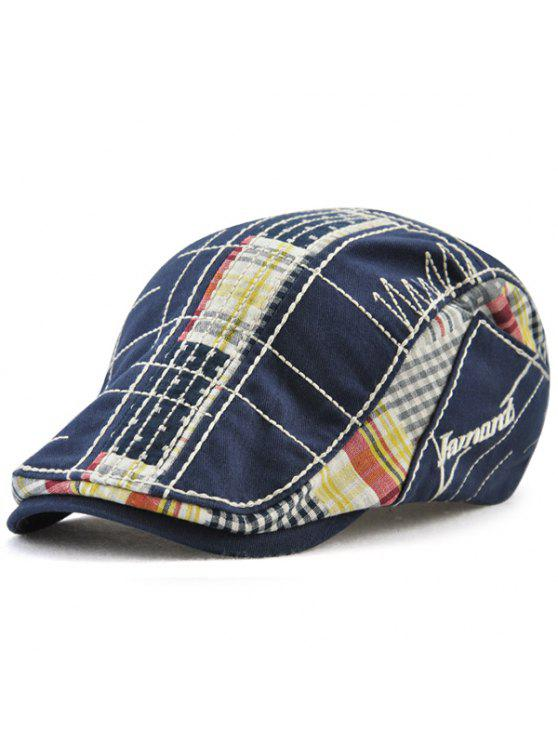 Chapéu retro do condutor de patchwork do bordado do Tartan - Azul Escuro