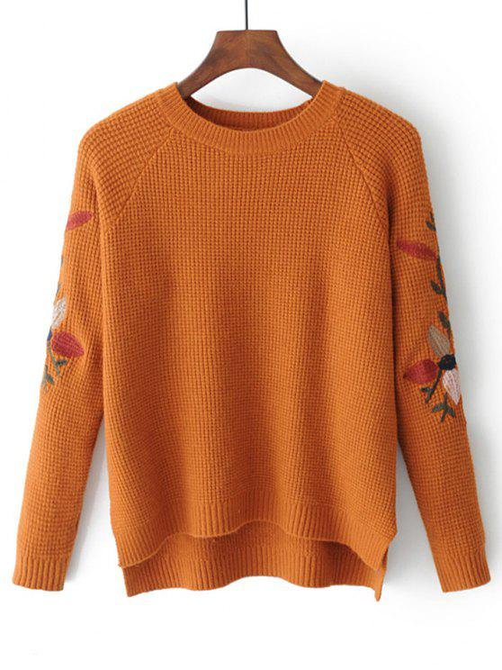 best High Low Leaves Embroidered Sweater - GINGER ONE SIZE