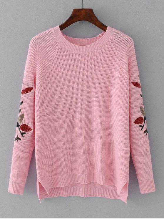 Hoher Niedriger Pullover mit Blätterstickerei - Rosa Eine Größe