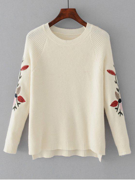 women High Low Leaves Embroidered Sweater - WHITE ONE SIZE