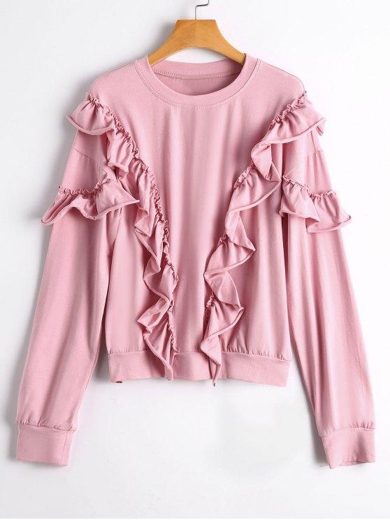 Weites Sweatshirt mit Drop Schulter und Rüschen - Pink S