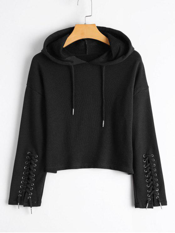 5f1d9acdb8e8c 25% OFF  2019 Cropped Lace Up Sleeve Hoodie In BLACK