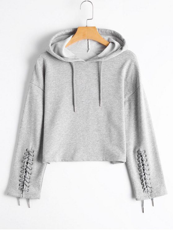 outfits Cropped Lace Up Sleeve Hoodie - GRAY S
