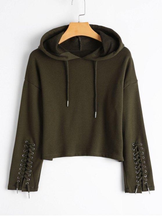 Hoodie de manga amarrada com renda - Verde S