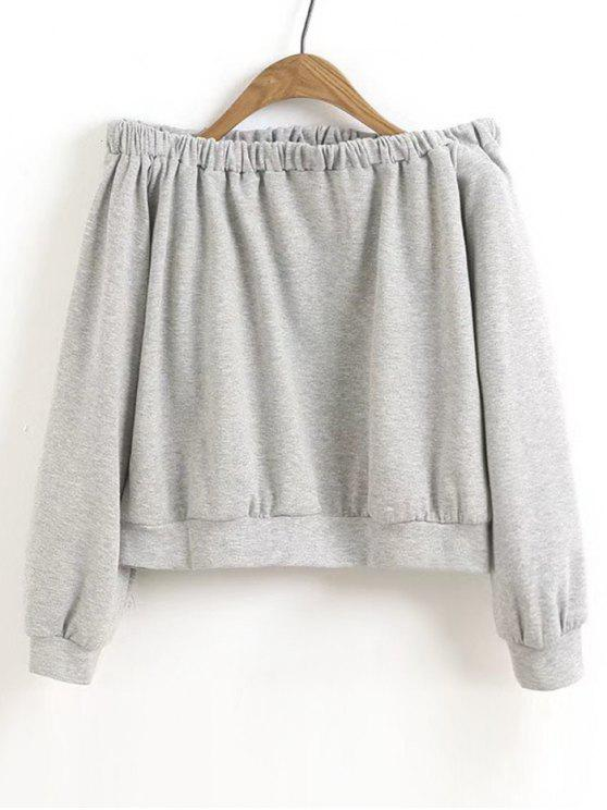 chic Cropped Off Shoulder Sweatshirt - GRAY L