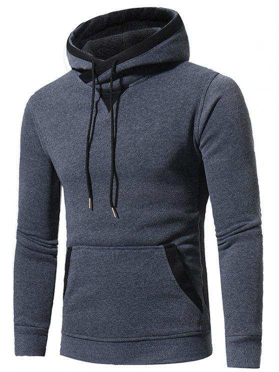 lady Hooded Elbow Patch Fleece Pullover Hoodie - DEEP GRAY 2XL