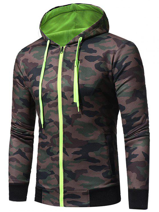 affordable Hooded Color Block Zip Up Camouflage Fleece Hoodie - BLACKISH GREEN L