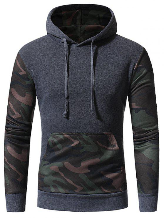 outfit Hooded Camouflage Panel Fleece Pullover Hoodie - DEEP GRAY L