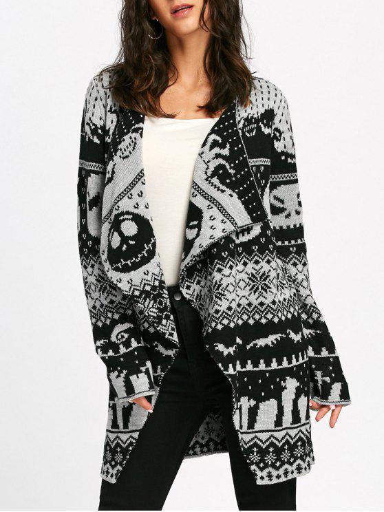 fashion Halloween Skull Knitting Tunic Cardigan - WHITE AND BLACK S