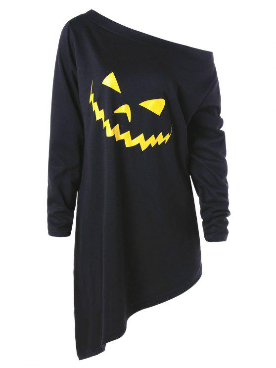 sale Halloween Plus Size Asymmetric Graphic Pullover Sweatshirt - BLACK 2XL